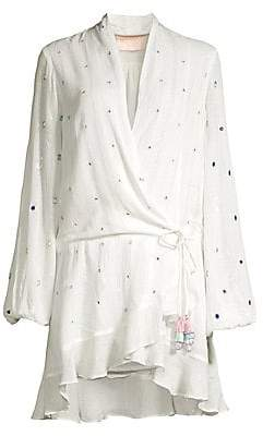 Rococo Sand Women's Mirrored Multicolor Bejeweled Wrap Dress