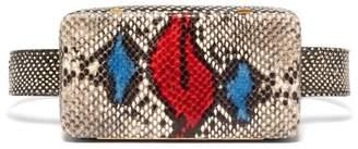 Lutz Morris - Evan Snake Effect Leather Belt Bag - Womens - Red Multi
