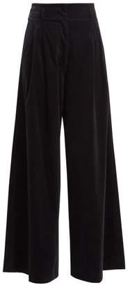 Vanessa Bruno Heaston Wide Leg Stretch Cotton Corduroy Trousers - Womens - Navy