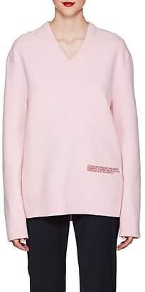 Calvin Klein Women's Embroidered-Logo Wool-Cotton Sweater - Cherry Blossom