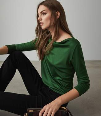 Reiss MARILYN STRAIGHT NECK TOP Emerald Green