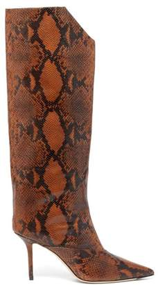 Jimmy Choo Brelan 85 Python Effect Leather Knee High Boots - Womens - Tan Multi