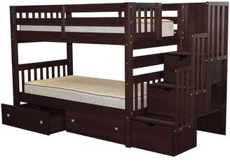 LOFT Bedz King Stairway Twin over Twin Bunk Bed with Extra Storage Bed Frame