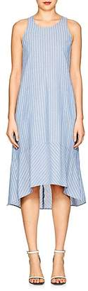 Barneys New York WOMEN'S STRIPED CHAMBRAY DROP-WAIST DRESS - BLUE SIZE L