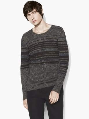 John Varvatos Interrupted Stripe Crewneck Sweater