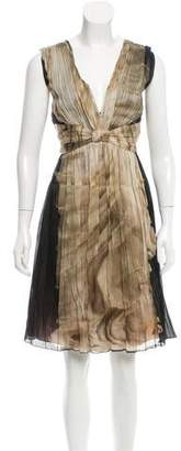 Alberta Ferretti Pleated Silk Dress w/ Tags