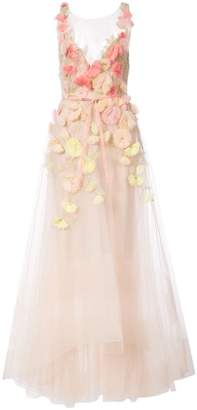 Marchesa floral embroidered flared dress