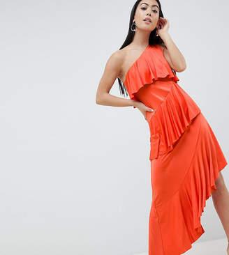 Asos DESIGN Petite one shoulder drapey tiered midi dress