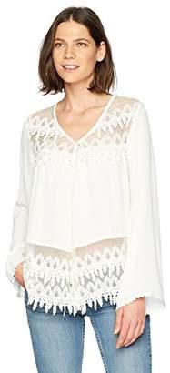 Karen Kane Women's Lace Trim Flare Sleeve Top