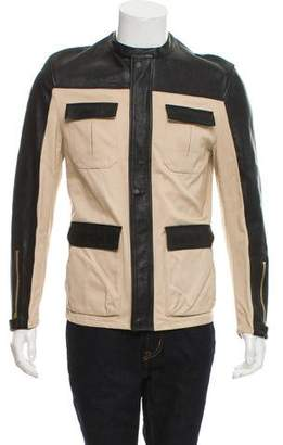 Balenciaga Vitello Leather-Trimmed Moto Jacket