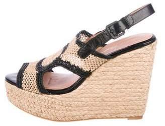 Robert Clergerie Straw Platform Wedge Sandals