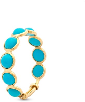 Tresor Collection Turquoise Round Stackable Ring With Adjustable Shank In 18K Yellow Gold