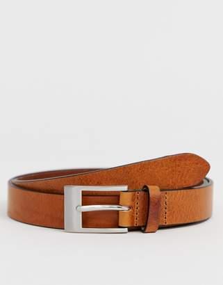 Asos Design DESIGN leather slim belt in vintage tan and silver buckle