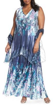 Komarov Floral Print Maxi Dress with Shawl