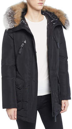 Derek Lam 10 Crosby Long Fur-Trimmed Hooded Puffer Coat