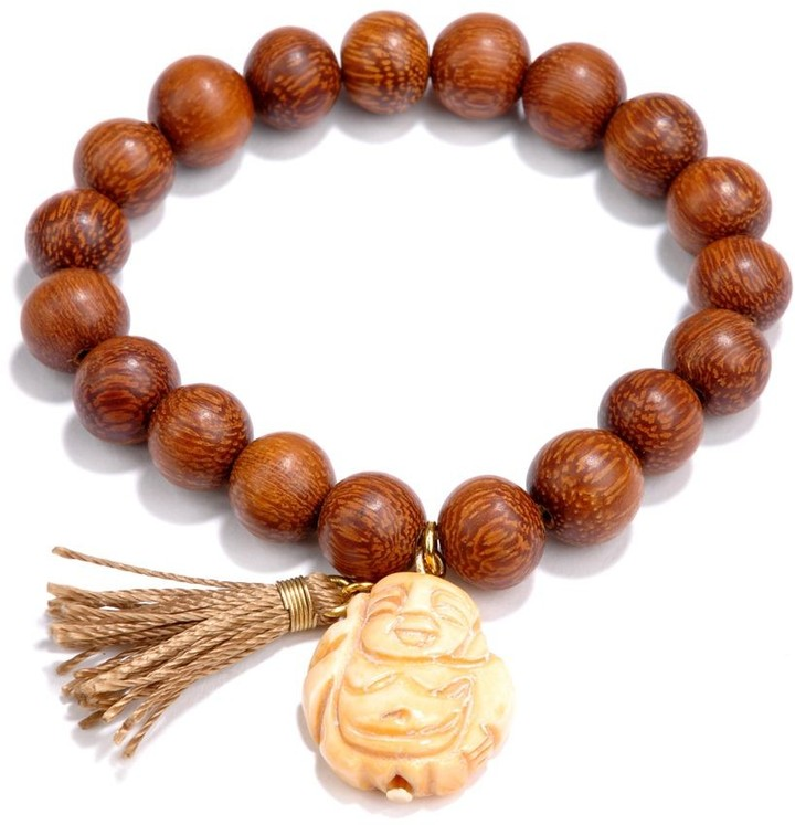 Yochi Stretch Beaded Buddha & Tassel Bracelet