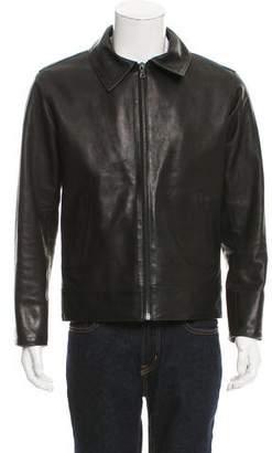 Maxwell Snow Leather Harrington Jacket