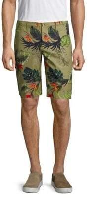Shore Leave Tropical-Print Cotton Shorts