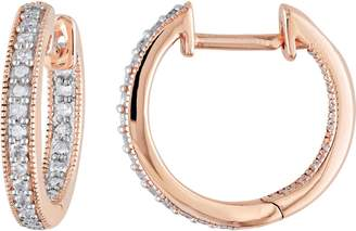 Affinity Diamond Jewelry Diamond Hoop Earrings, 14K Rose Gold, 1/5 cttw,by Affinity