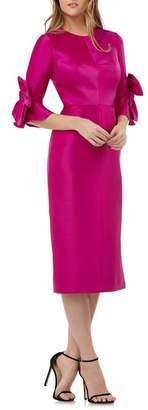 Kay Unger Bow Sleeve Stretch Mikado Dress