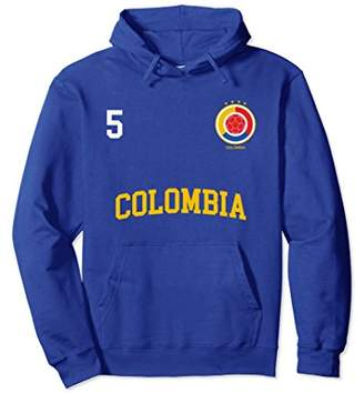 Colombia Soccer Hoodie No. 5 Colombian Flag Camiseta Futbol