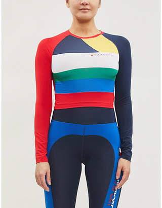 Tommy Hilfiger Contrast panel stretch-jersey crop top