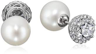 Sterling Silver Cubic Zirconia Freshwater Cultured Pearl Front-Back Stud Earrings