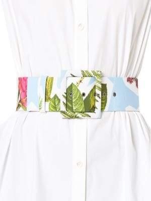 Carolina Herrera Floral-Print Buckled Belt