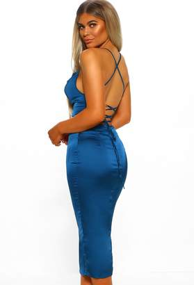 Pink Boutique Milan Moments Teal Blue Stretch Satin Strappy Midi Dress