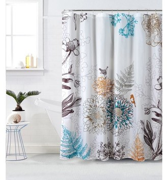 "Style Quarters Aviary Floral and Birds Shower Curtain - Botanical Birds and Flowers on White Ground - Buttonhole - Polyester - Machine Washable - 1pc - 72""W x 72""L"