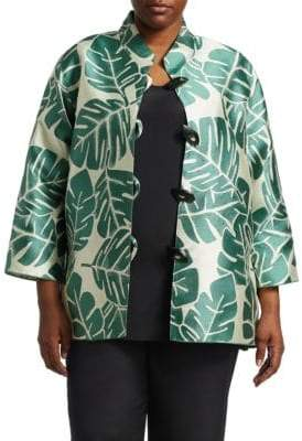 Caroline Rose Plus Palm Jacquard Silk Jacket
