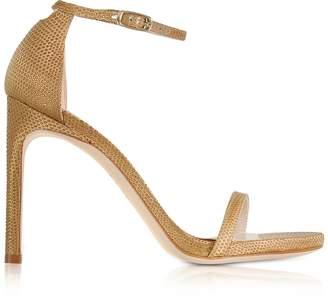 Stuart Weitzman Nudistsong Gold Crystaline High Heel Sandals