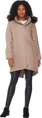 Halston H By H by Hooded Down Parka with Faux Fur Trim