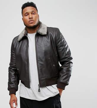 Schott PLUS Leather Flight Jacket Detachable Faux Fur Collar Slim Fit in Brown