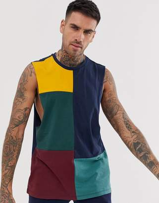 Asos Design DESIGN organic relaxed sleeveless t-shirt with dropped armhole and grid colourblock in navy