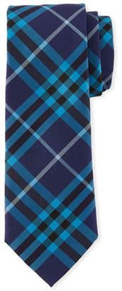 Burberry Slim-Cut Check Silk Tie