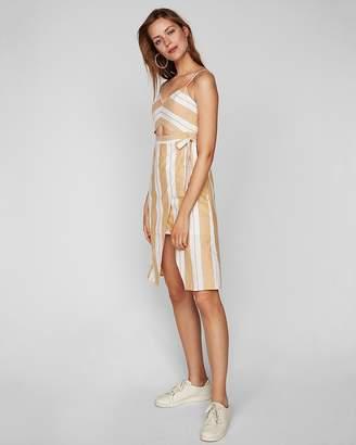 Express Striped Cut-Out Midi Wrap Dress