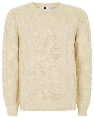 Topman Mens Cream Marble Cable Knit Sweater