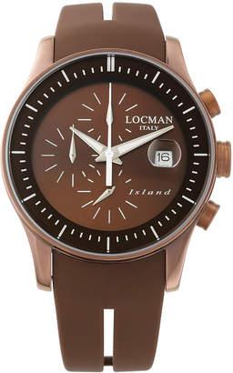 Locman (ロックマン) - LOCMAN ラウンドウォッチ クロノグラフ デイト表示 ケース:ブラウン ベルト:ブラウン