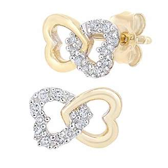 caf3dd323 at Amazon.co.uk · Naava Women's 9ct White Gold Diamond Linked Hearts Stud  Earrings