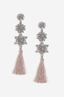 Topshop Flower Tassel Drop Earrings