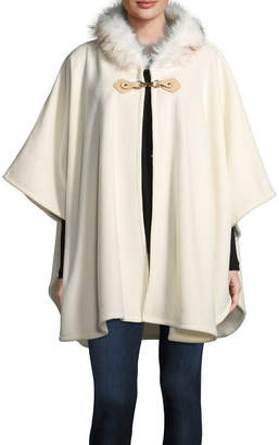 Liz Claiborne Faux Fur Clasp Ruana Cold Weather Wrap