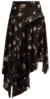 Preen Line Amejila Floral Print Lace Trim Asymmetric Skirt - Womens - Black Multi