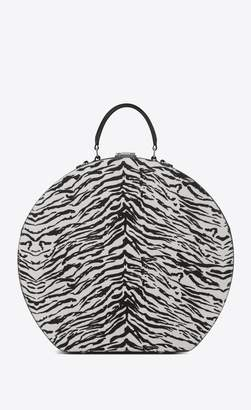 Saint Laurent Mica Hatbox In Calfskin With Black And White Tiger Print
