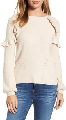 Velvet by Graham & Spencer Cashmere Ruffle Shoulder Sweater