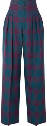 Marc Jacobs Pleated Tartan Wool Wide-leg Pants - Purple