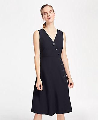Ann Taylor Side Button Linen Blend Flare Dress
