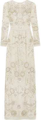 Needle & Thread - Embellished Embroidered Tulle Gown - Ivory $1,298 thestylecure.com
