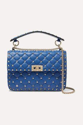 Valentino Garavani The Rockstud Spike Medium Quilted Leather Shoulder Bag - Blue