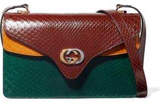 Gucci Tiger Small Color-block Python Shoulder Bag - Burgundy
